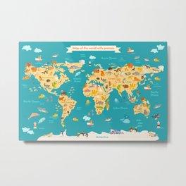 Animal map for kid. World vector poster Metal Print