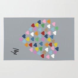 Hearts Heart Multi Grey Rug