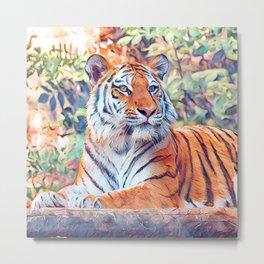 Aquarell Tiger Metal Print