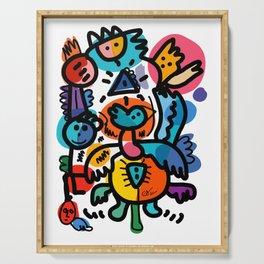Doodle Graffiti Art Cool and Joyful Creatures by Emmanuel Signorino Serving Tray