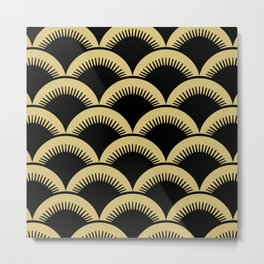 Japanese Fan Pattern Black and Gold Metal Print