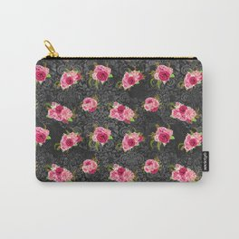 Pink & Black Floral Pattern One Carry-All Pouch