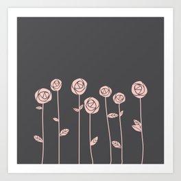 Minimalist Rose Flowers (Rose Quartz, Charcoal Black) Art Print