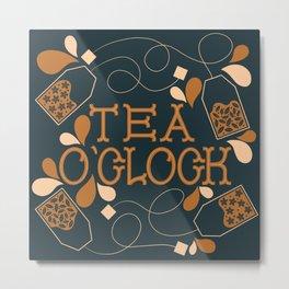 Tea O'Clock- Navy and Brown Metal Print