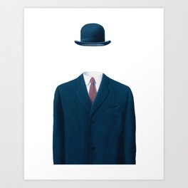 Man In a Bowler Hat by Rene Magritte, Artwork For Prints, Posters, Tshirts, Bags, Men Women, Kids Art Print