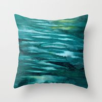 turquoise Throw Pillows featuring Turquoise  by Mich Li
