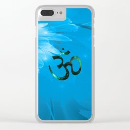 Om Shanti (blue-green) Clear iPhone Case