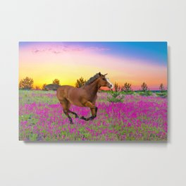 Chestnut Horse in Summer Metal Print