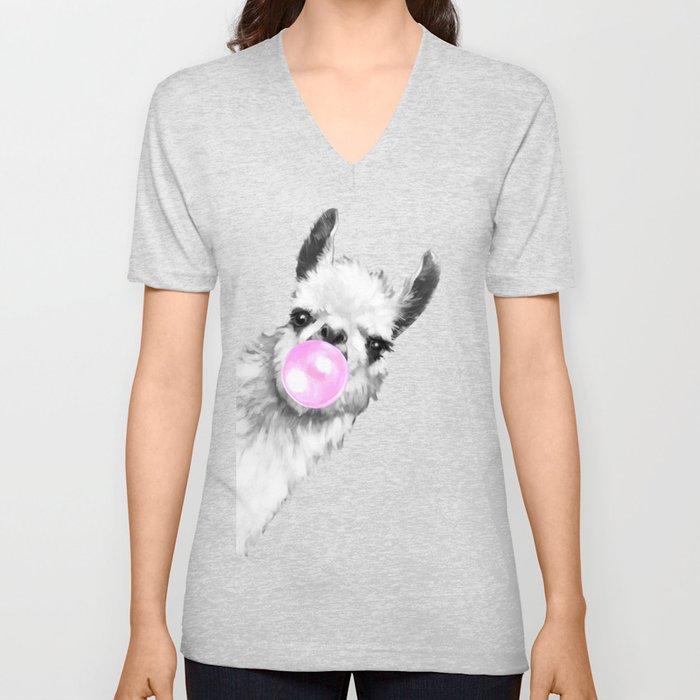 Bubble Gum Sneaky Llama Black and White Unisex V-Neck