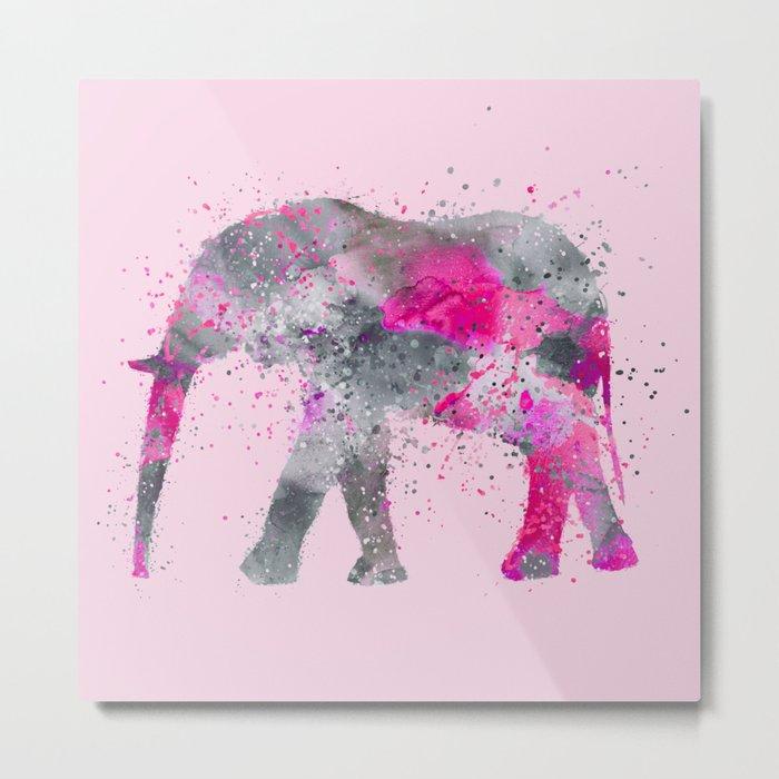 Crazy pink Elephant Paint Splatter Art Metal Print