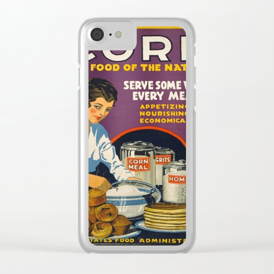 Vintage Corn food Clear iPhone Case