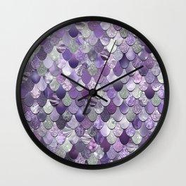 Mermaid Purple and Silver Wall Clock