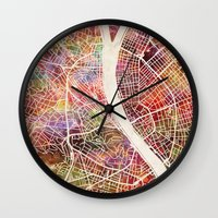 budapest hotel Wall Clocks featuring Budapest  by MapMapMaps.Watercolors