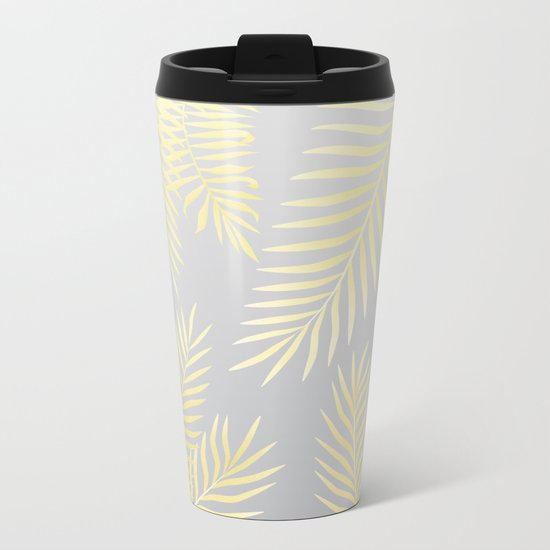 Gold palm leaves on grey Metal Travel Mug