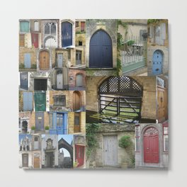 doors in london brussels bruges france paris door collage europe portals to other worlds Metal Print