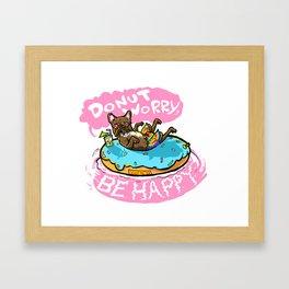 Happy Swimming Terrier Donut Matter Framed Art Print