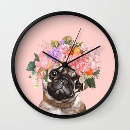 Pug with Flower Crown Wall Clock