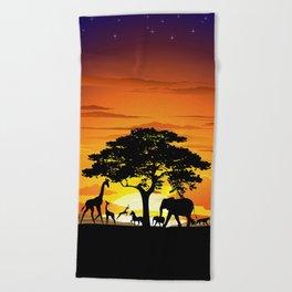 Wild Animals on African Savanna Sunset Beach Towel
