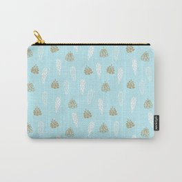 Merry Christmas-Festive teal pine cone X-Mas Pattern Carry-All Pouch