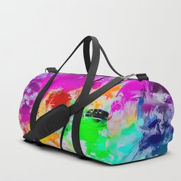 ferris wheel with pink blue green red yellow painting abstract background Duffle Bag