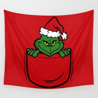 pocket Wall Tapestries featuring Pocket Grinch by Buby87