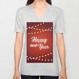 Happy holiday, Christmas sign with snow flake and christmas decoration on the red background Unisex V-Neck