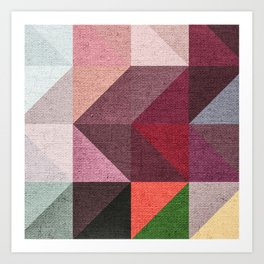 Warm Textured Chevron Geometrical Pattern Art Print