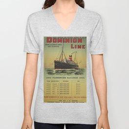 Dominion Line Vintage Travel Poster Unisex V-Neck