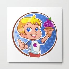 Little boy with ice cream Metal Print