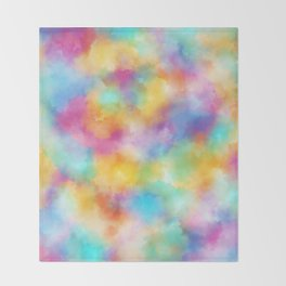 Watercolor Rainbow Abstract Art Throw Blanket