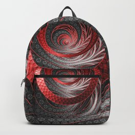 Beautiful Silver and Red Fractal Vampire Scales Backpack