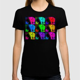 Colorful Pop Art Dachshund Doxie Face Closeup Tiled Image T-shirt