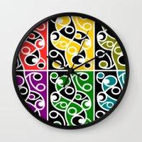 maori Wall Clocks featuring Maori Kowhaiwhai Pattern by mailboxdisco
