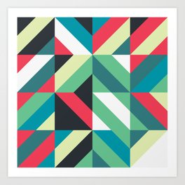 Colorful Shapes Texture, Retro Style, Art Print