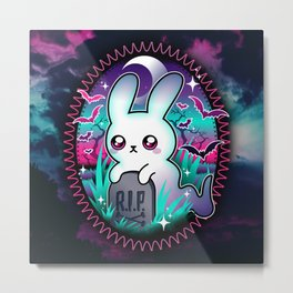 Spooky Bunny Ghost Metal Print