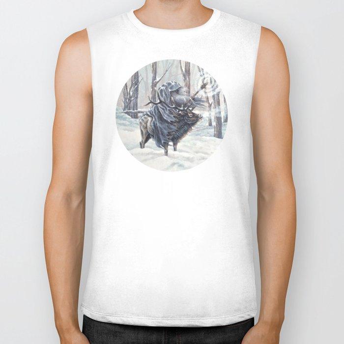 Wizard Riding an Elk in the Snow Biker Tank