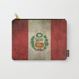 Old and Worn Distressed Vintage Flag of Peru Carry-All Pouch
