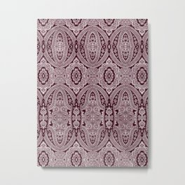 paisley medallion in deep bordeaux Metal Print