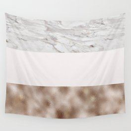 Pastel striping - taupe tones marble & rose gold Wall Tapestry