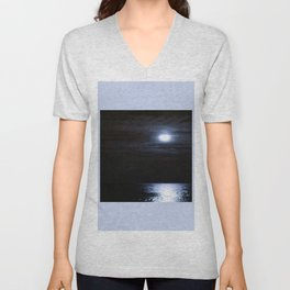 Moon Over Lake Michigan Unisex V-Neck