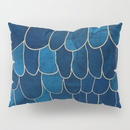 Stratosphere Sapphire // Abstract Blue Flowing Gradient Gold Foil Cloud Lining Water Color Decor Pillow Sham