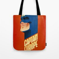 europe Tote Bags featuring Captain Europe by Robert Farkas