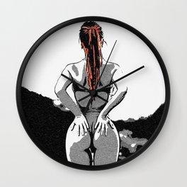 Sexy girls body - we love thigh gap 3, hot curvy redhead woman in swimming suit naughty posing Wall Clock