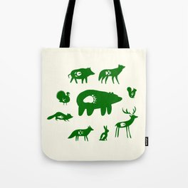 Nature Trail in Forest Green and Cream Tote Bag