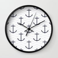 nautical Wall Clocks featuring Nautical by Background Labs