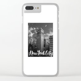 New York City Skyline Flatiron Building Black and White Clear iPhone Case