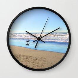 Dog on the Beach Wall Clock