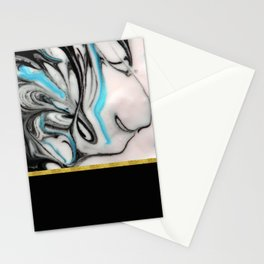 Black, Blue & White Marble with Gold Accent Stationery Cards