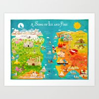 game of thrones Art Prints featuring A Map of Ice and Fire by Kitkat Pecson