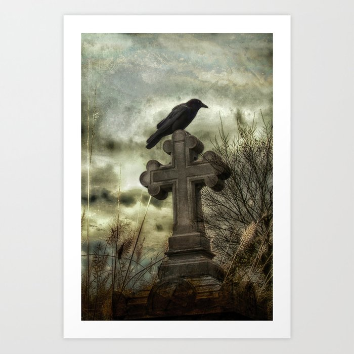 Gothic Crow Perched On A Old Cross Kunstdrucke